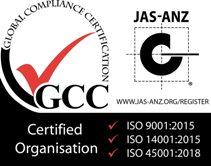 JAZ認証(ISO14001:2015)(ISO45001:2018)